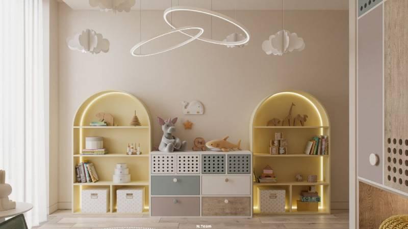 طراحی کتابخانه در اتاق کودک